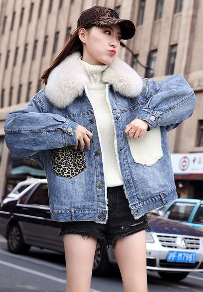 衣饰馨语2018冬装新款韩版时尚狐狸毛领短款牛仔棉衣外套女宽松牛仔棉服