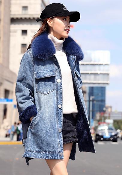 衣饰馨语2018冬季新款韩版中长款加绒加厚狐狸毛领牛仔棉衣女士牛仔棉服