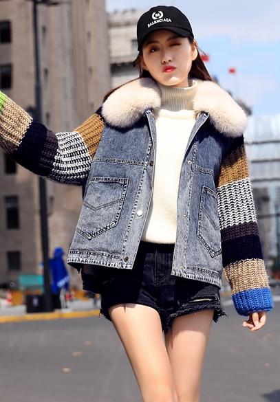 衣饰馨语2018冬季新款狐狸毛领牛仔棉衣女毛线袖子拼接牛仔棉服短外套潮
