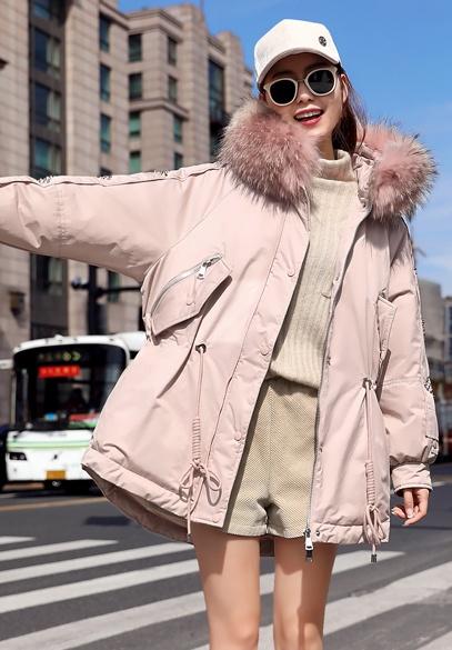 衣饰馨语2018冬装新款韩版时尚收腰显瘦女士羽绒服大毛领连帽羽绒衣外套