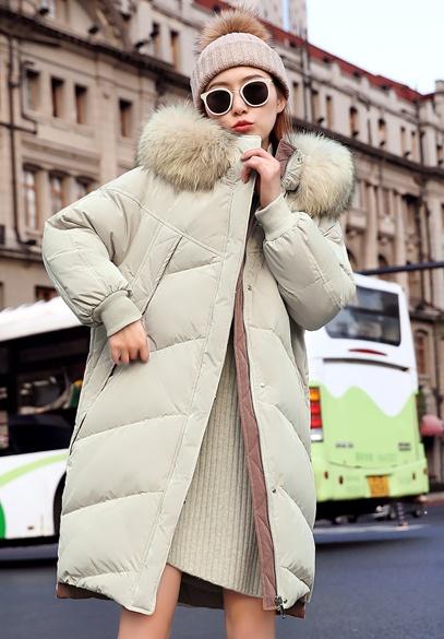 衣饰馨语2018冬装新款韩版中长款宽松时尚羽绒服女大毛领连帽羽绒外套潮