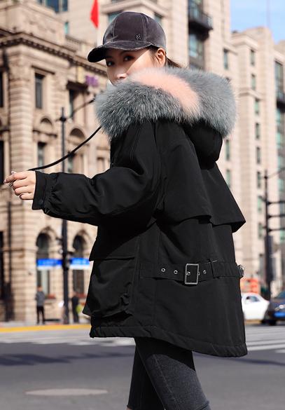 衣饰馨语2018冬季新款韩版时尚貉子毛大毛领连帽羽绒外套女士宽松羽绒服