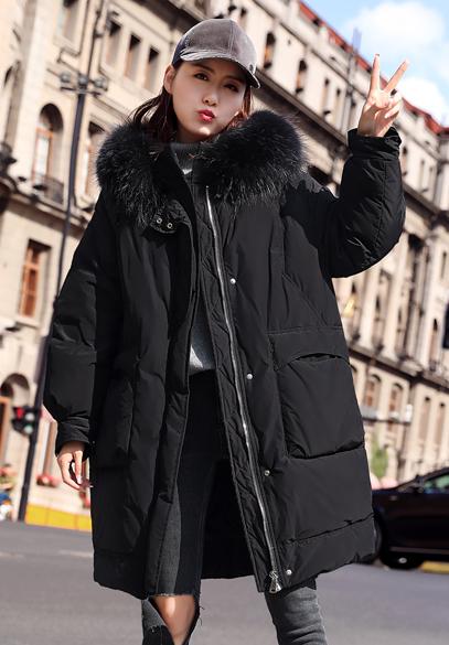 衣饰馨语2018冬新款韩版中长款时尚大毛领羽绒服外套女加厚保暖连帽羽绒服