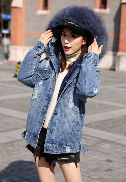 衣饰馨语2018冬装新款时尚连帽羽绒服女大毛领连帽可脱卸内胆羽绒牛仔外套