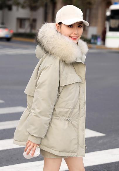 衣饰馨语2018冬季新款时尚大毛领连帽羽绒服女韩版收腰显瘦保暖羽绒外套