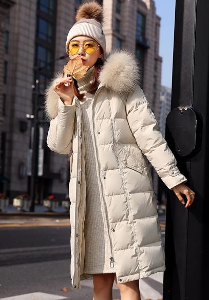 衣饰馨语2018冬季新款韩版中长款大毛领连帽羽绒服女时尚显瘦羽绒外套
