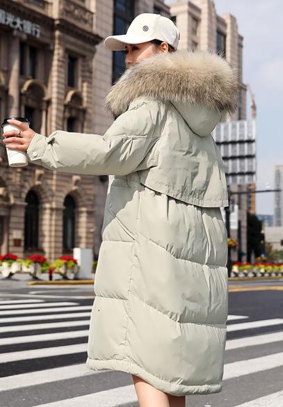 衣饰馨语2018冬装新款韩版中长款女士加厚保暖连帽大毛领羽绒服外套